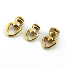 10Pcs Brass Ball Post Studs Rivet with D ring Screwback Round Head Nail Spots Swivel 360 Rotate Head Spikes Leather Craft DIY