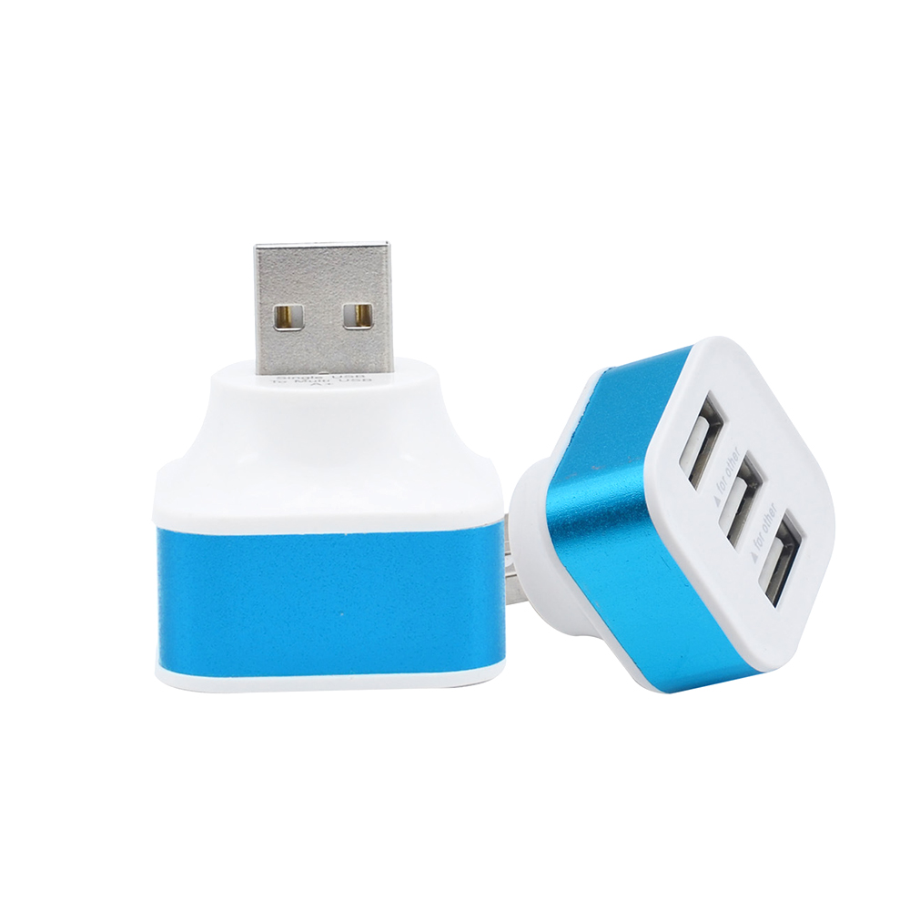 Portable USB2.0 HUB High Speed 3 PortsS Phone Splitter Adapters Rotatable Plug Portable Aluminium Alloy+AB Random Color