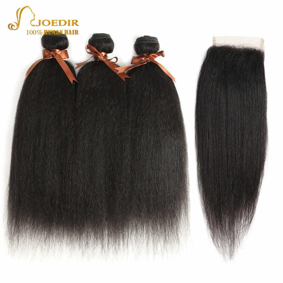 Joedir Malaysian Yaki Straight Hair With Closure 100% Human Hair Weave 3 4 Bundles With Closure With Baby Hair Free Shipping