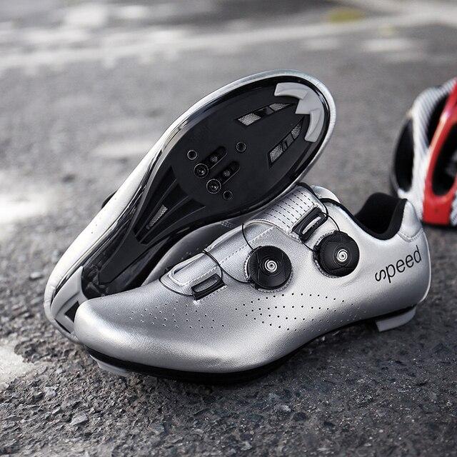Ultralight fivelas duplas sapatos de ciclismo mtb luminosa bicicleta de estrada sapatos de auto-bloqueio cleat sapatos profissional tênis 4