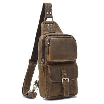 MAHEU-Bolso de pecho de cuero para hombre, mochila de pecho de cuero de Caballo loco de moda Vintage, bolsa para deportes al aire libre, bolso de pecho para jinete