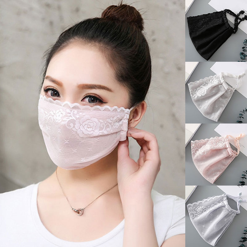 Summer Women Thin Sunscreen Mouth Masks Lady Chiffon Mask Girl Mesh Breathable Enlarged Face Mask Flower Print Gauze Masks