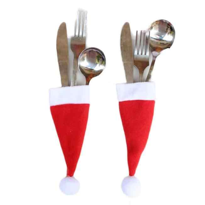 Santa Hat Reindeer Christmas New Year Pocket Fork Knife Cutlery Holder Bag Home Party Table Dinner Decoration Tableware
