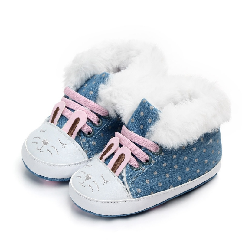 Baby Girls Boots Winter Newborn Shoes Warm Dot Print Infant Snow Boots Plus Velvet Baby Shoes