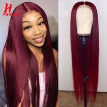 HairUGo 4x4 кружева закрытие парик 99J бразильских человеческих волос Прямые парики из человеческих волос парики для чернокожих Для женщин парики из натуральных волос на кружевной Mid соотношение