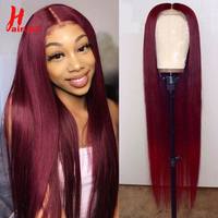 HairUGo 4x4 Lace Closure Wigs 99J Brazlian Remy Straight Lace Closure Human Hair Wigs For Black Women Human Hair Wigs Mid Ratio