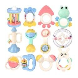Baby Rasseln Beißringe Set Kunststoff Cartoon Jingle Glocke Infant Spielzeug Neugeborenen Safe Weiche Zahnen Pflege Beißen Beißring 0-24 monat Geschenke