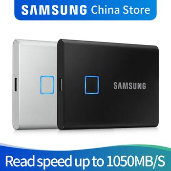 Samsung T7 Touch SSD 2TB 1TB 500GB USB3 2 rozpoznawanie linii papilarnych odblokuj przenośny interfejs typu C dysk półprzewodnikowy NVMe tanie i dobre opinie 2 5 USB 3 1 typu C Zewnętrzny Pulpit Laptop