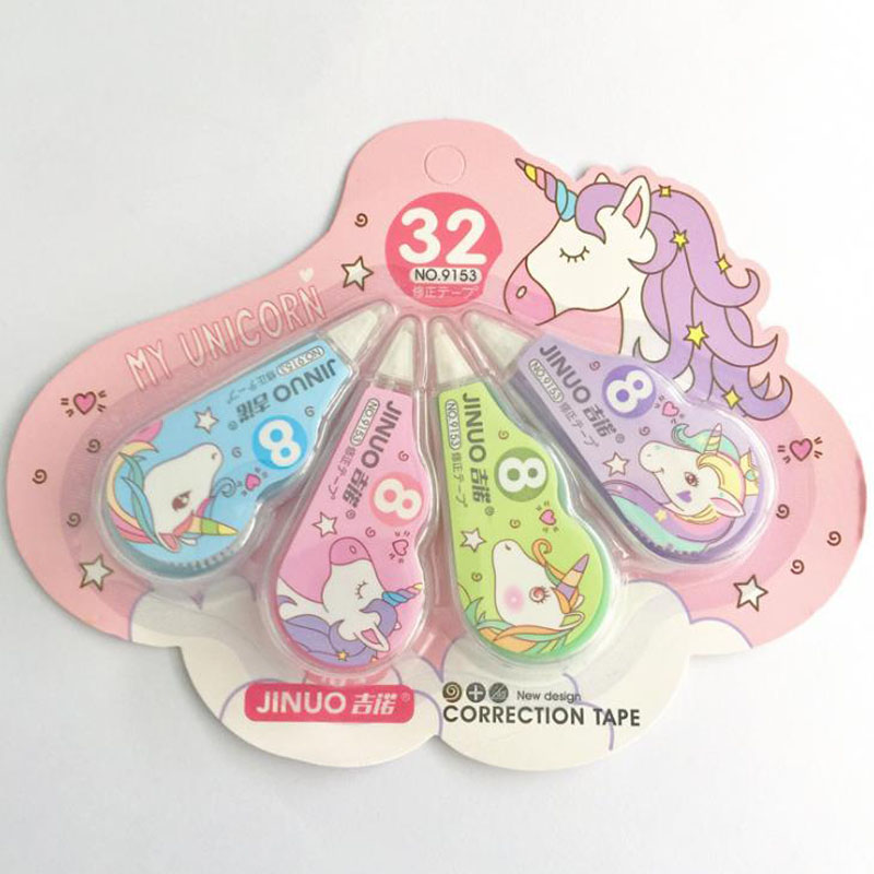 4 Pcs/pack Cartoon Animal Unicorn Practical Correction Tapes Corrector Tools Gift Stationery Student Prize School Office Supply
