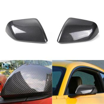 цена на 2 Pcs Carbon Fiber Rear View Mirror Cover Shell housing Trim For Mustang 2015 2016 2017 2018 2019 Replacement Side Mirror Caps