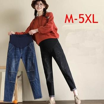 Ubrania ciążowe wiosna Plus rozmiar M-5XL jeansy ciążowe w pasie brzuch w ciąży spodnie spodnie dżinsowe dla kobiet w ciąży tanie i dobre opinie GB-Kcool Denim Elastyczny pas Natural color light Distrressed WHITE Kolorowe Enzym prania REGULAR COTTON Stretch Spandex