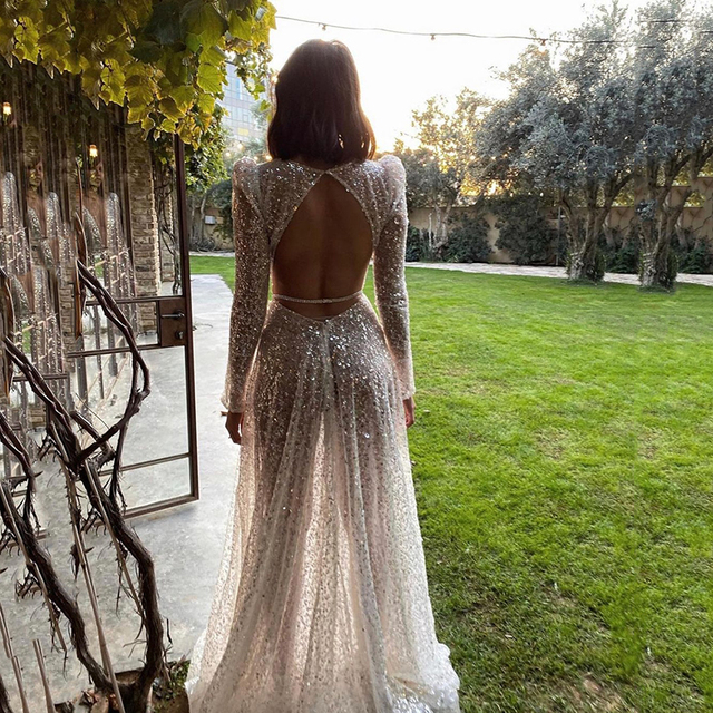 UZN Gorgeous Silver V-Neck Long Sleeves Sequined Prom Dress New Arrival Sexy A-Line Sequins Open Back Evening Dress Plus Size 2