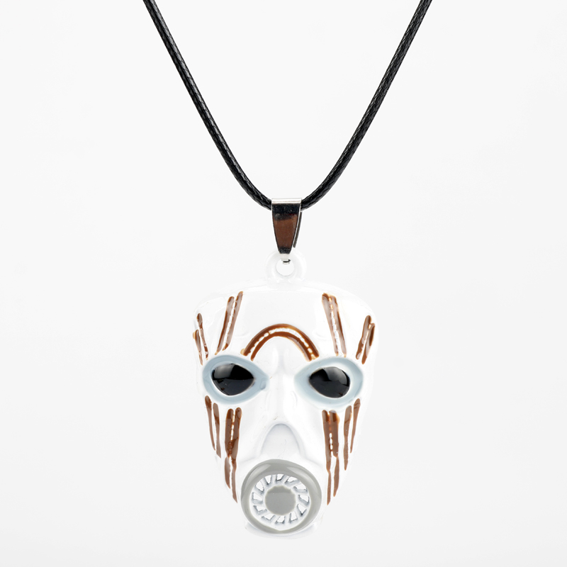 Borderlands 2 Krieg Mask Rope Chain Necklace Gas Mask Enamel Pendant Necklace For Men Women Game Jewelry Choker Accessories image