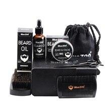 Men's Facial Hair Removal Beard Oil Set 7 Piece Beard Wax Double Side Comb Brush Bag Small Scissors Makeup Tools