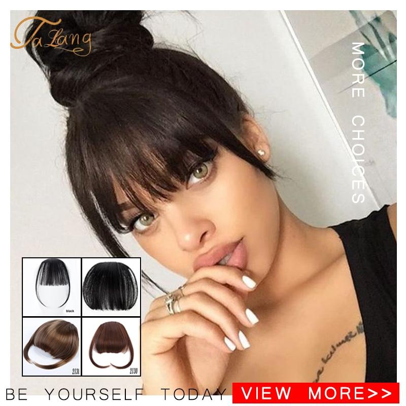Челка для волос TALANG, опрятная Передняя накладная челка, заколка для волос с высокой температурой, синтетические волосы