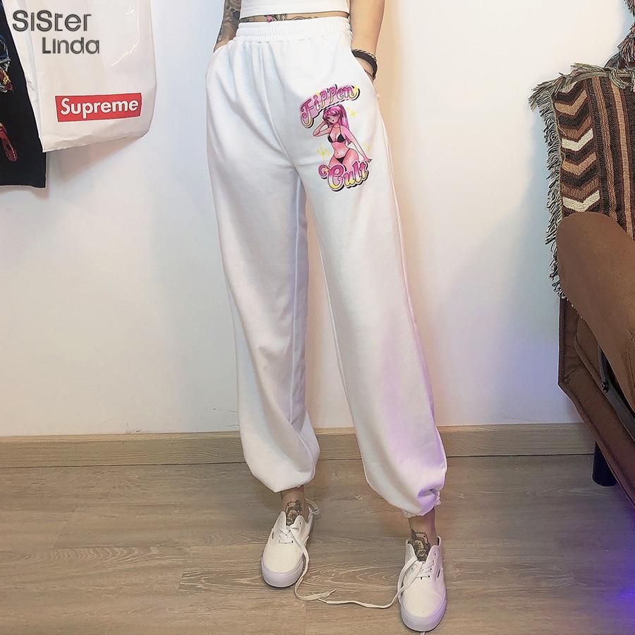 Sisterlinda Pattern Print Streetwear Pant Sweatpants Women High Waist Loose Jogger Pants Dancing Trousers For Women 2020 Mujer