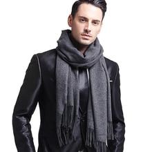 Elegant Gray Men's Scarf Winter Faux Cashmere Male Scarves B
