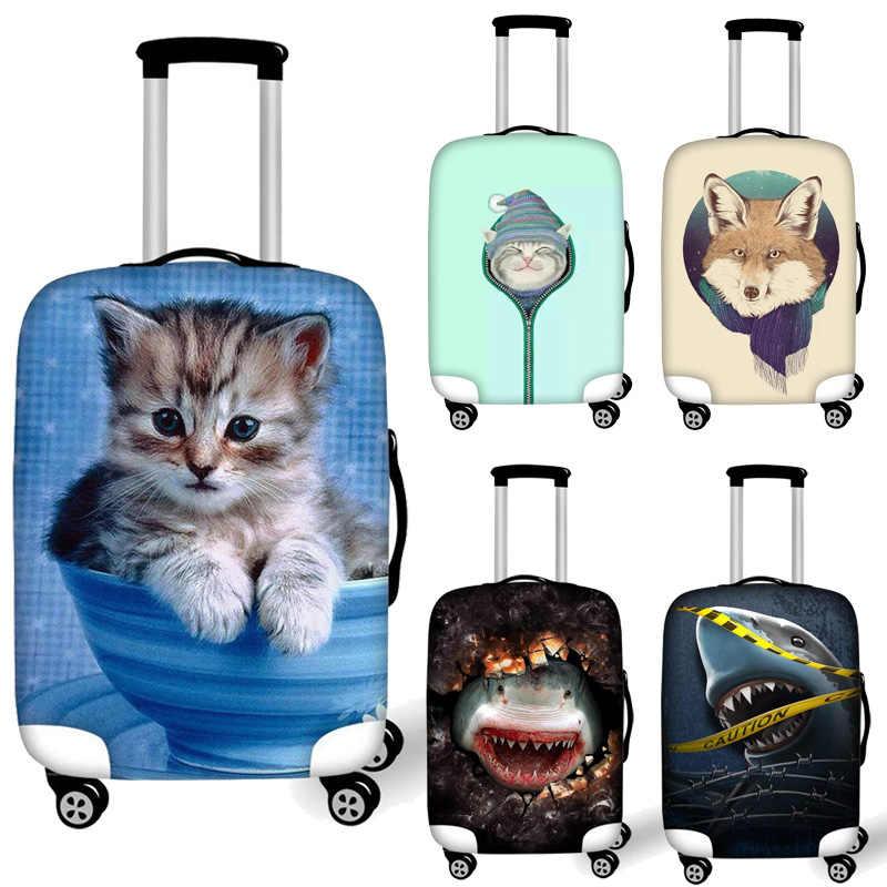 متعة القط الذئب القرش ثلاثية الأبعاد نمط رشاقته السفر الأمتعة حقيبة الغطاء الواقي لحقيبة الجذع تنطبق على 18 ''-32'' حافظة لحقيبة السفر