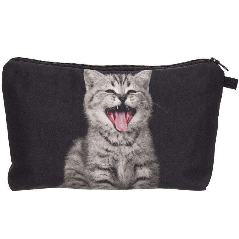Cute Cartoon Cat Printing Cosmetic Case 3D Kittens Printed Female Storage Makeup Bags Women Girls Clutch Bags Travel Container