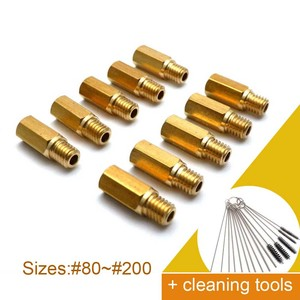10 Pieces Main Jet + Cleaning Needles For Keihin OKO KOSO PE PWK FCR Carb Carburetor Hexagon Motorcycle Main injector nozzle(China)