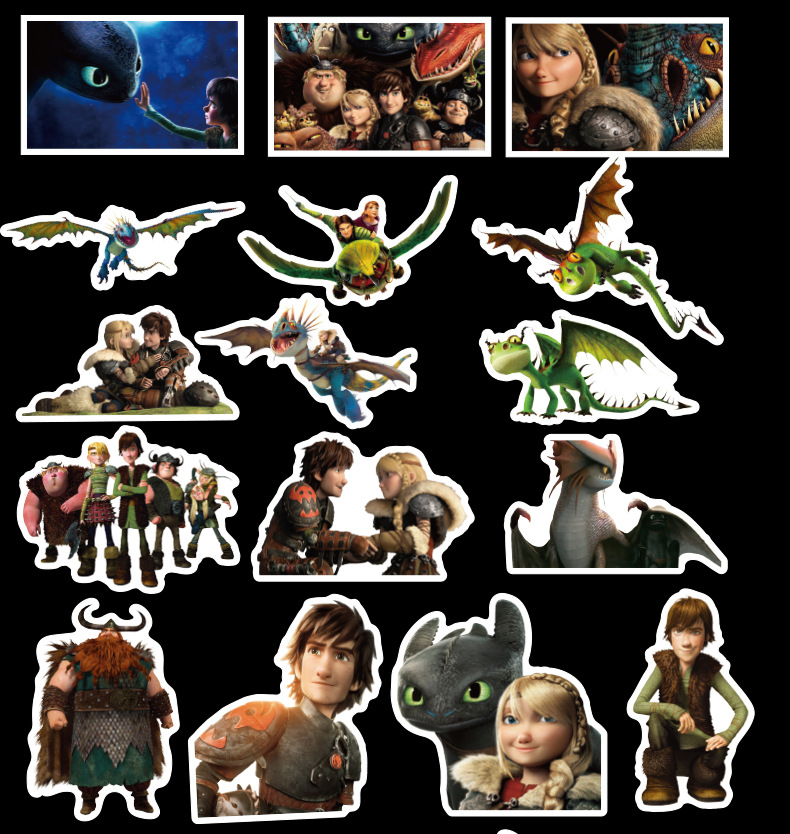 42PCS/Set How To Train Your Dragon 3 Night Fury Toothless Hiccup Light Fury Stickers Toys DIY Cartoon Scrapbooking For Children