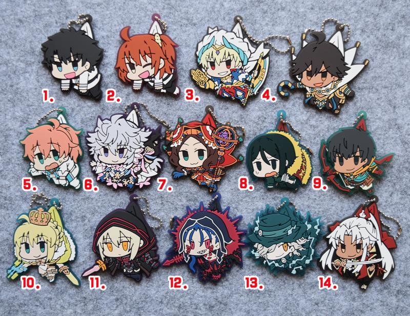 Fate/Grand Order Anime Shiro Amakusa Gankutsuo Romani Gilgamesh Mysterious Heroine X Cu Chulainn  Rubber Strap Keychain