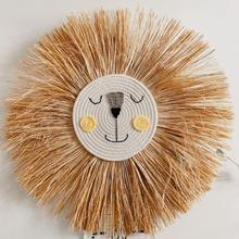 INS Hand-woven Animal Head Ornament Children Room Wall Hanging Nordic Cartoon Lion Tiger Hanging Decoration Cotton Thread Weave