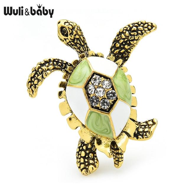 Wuli & baby-broche Vintage de esmalte verde con forma de tortuga para hombre y mujer, alfileres de regalo, joyería de Navidad para Año Nuevo 1