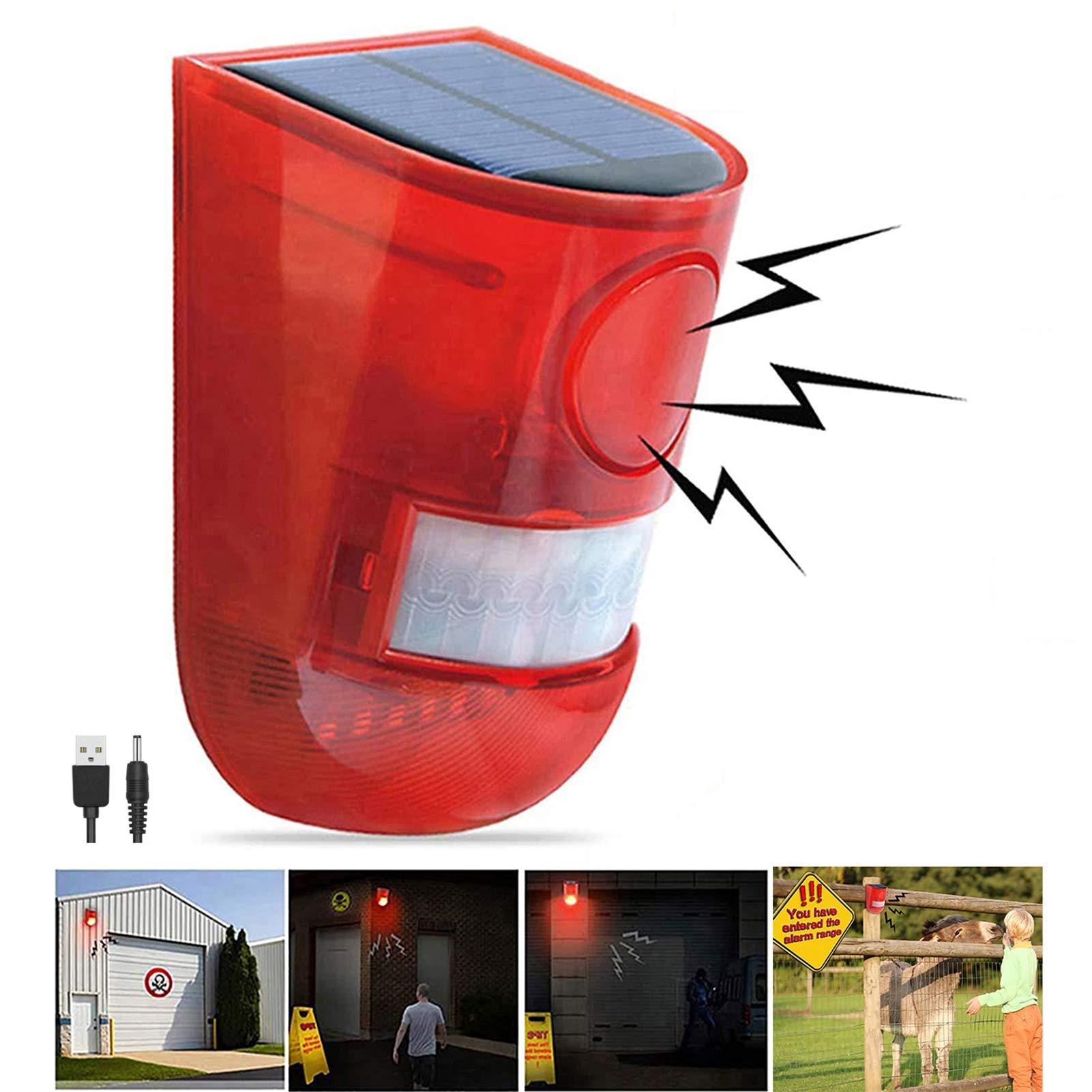 Solar Sound & Light Alarm Motion Sensor 110 Decibels Siren Sound Alert & 6LEDs Flash Warning Strobe Security Alarm System
