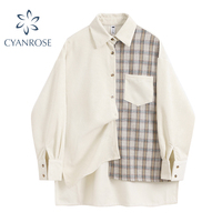 Patchwork Plaid Frauen Bluse Herbst Elegante Langarm Korean Fashion casual Lose Drehen-unten Kragen Weibliche Shirts Streetwear