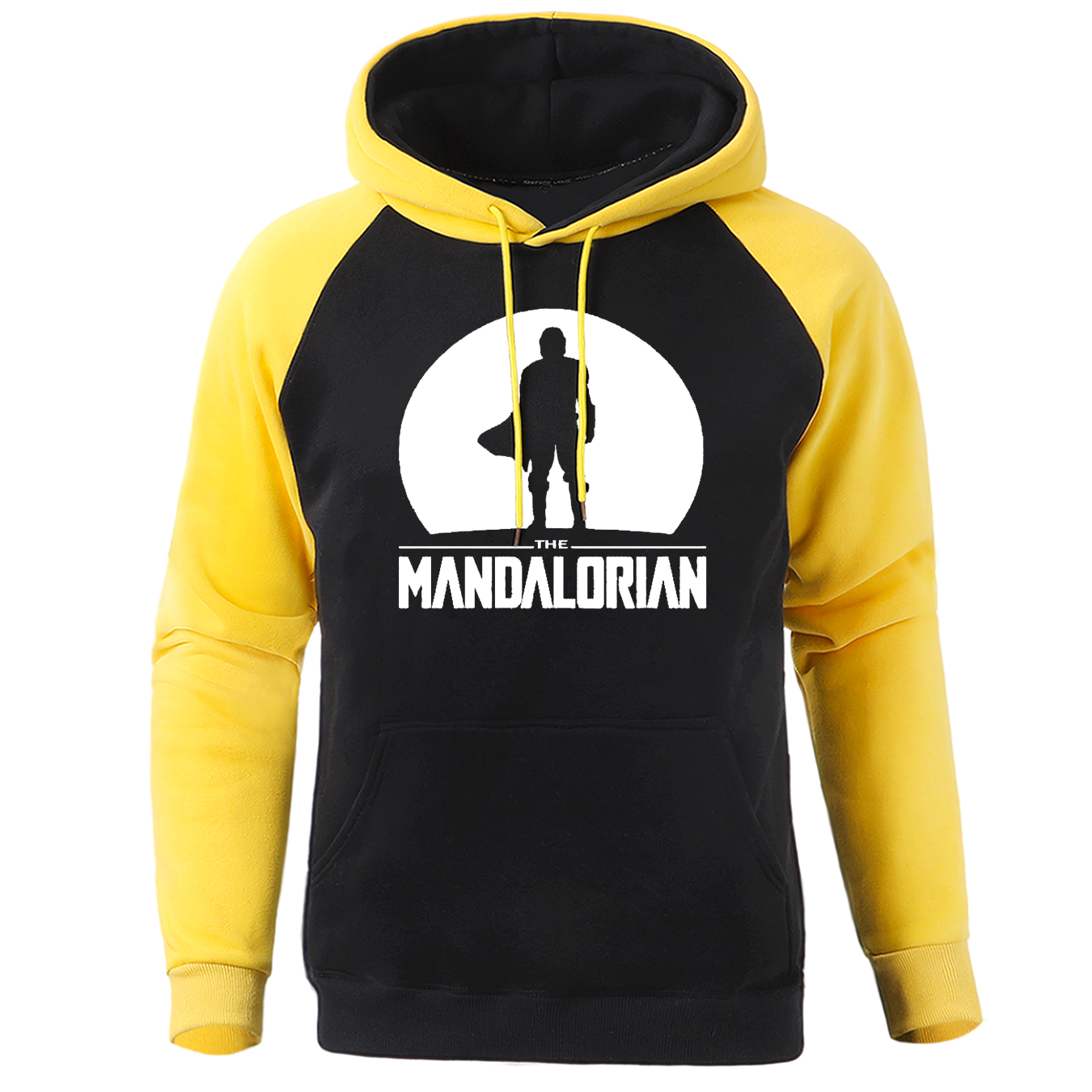 Mandalorian Star Wars Men Raglan Hoodies Streetwear Funny Print Pullover Spring Winter Casual Sweatshirts Hip Hop Fleece Hooded
