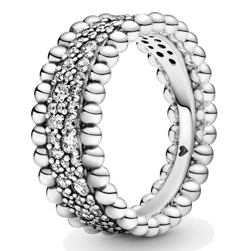 Authentic 925 Sterling Silver Ring Beaded Pave Band Rings With Crystal Rings For Women Birthday Gift Fine DIY Europe Jewelry