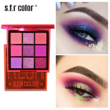 9 Color Neon Eyeshadow With Mirror Diamond Glitter Shimmer Eyeshadow Palette Pearlescent Matte Waterproof Eye Make Up(China)