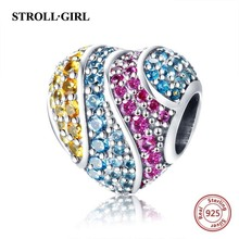 New arrival 925 sterling silver heart shape beads with Colored CZ fit Pandora charms bracelet diy jewelry Making for women gift стоимость