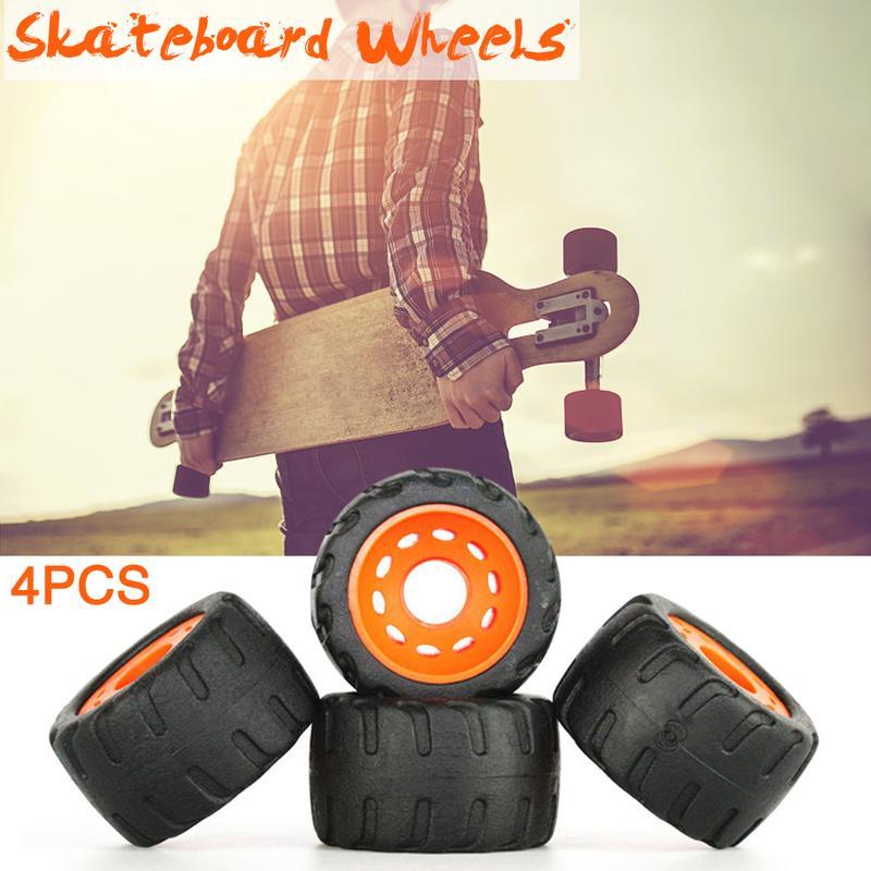 4 PCS/Lot Durable PU Anti-vibrate Rubber Wheel Board Skateboard Single Double Long Plate Road Wheel Wear-resistant Wheel