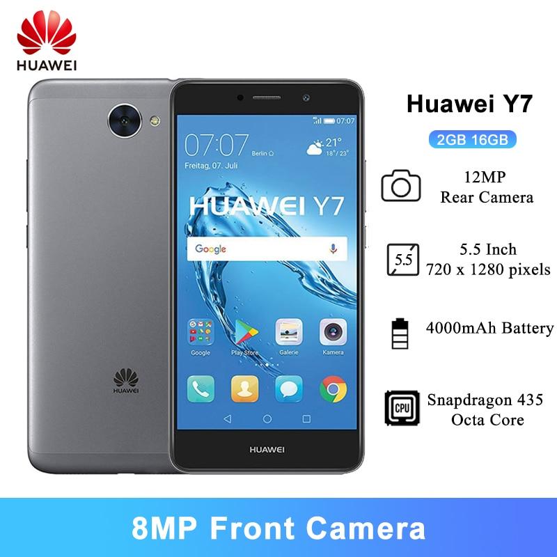 Huawei Y7 Android 7,0 handys 5,5 Inch Snapdragon 435 Octa-core 8MP Vordere Kamera 4000mAh 2GB RAM 16GB ROM Smartphones