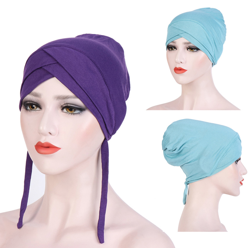 Fashion New Stretch Cotton Forehead Cross Muslim Turban Hijab Caps Solid Women Head Scarf Inner Cap For Hijabs Indian Bonnet