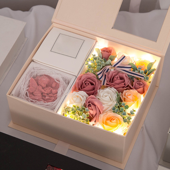 LED Artificial Soap Scented Flowers Rose Bouquet Gift Box Simulation Rose Valentines Day Birthday Gift Decor Anniversary недорого