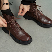 Martin Boots Platform Low-Heel-Shoes Winter Genuine-Leather Fashion ENNIS Ankle Lace-Up