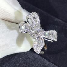 Модные циркониевые девичьи серьги с большим бантом кольца для