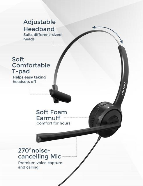 BH323 Office Wired Headset Stereo Computer Headphone with Noise Cancelling Mic 3.5mm PC USB Headset for Driver/Call Center 3