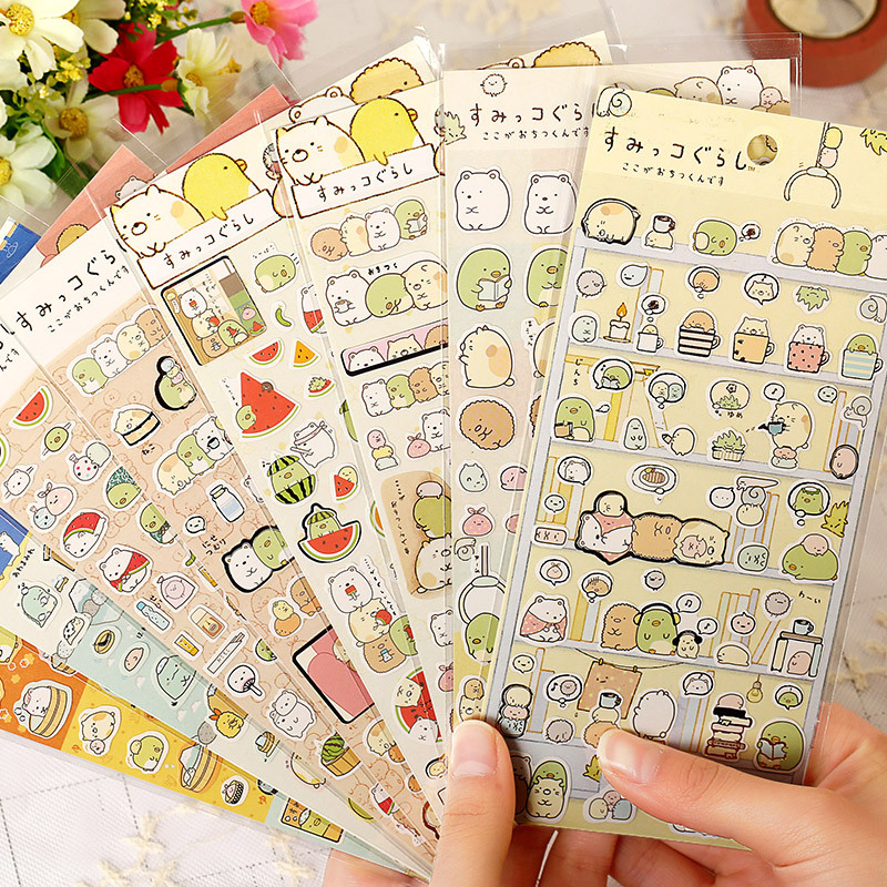 8Sheets/set Japanese Cartoon Sticker Scrapbooking Kawaii Sumikko Gurashi DIY Journal Decorative Adhesive Sticker Flake Supplies