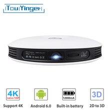 Touyinger g4 android dlp 2d para 3d projetor wifi para o telefone completo hd 4k vídeo mostrar dados bluetooth portátil cinema em casa beamer