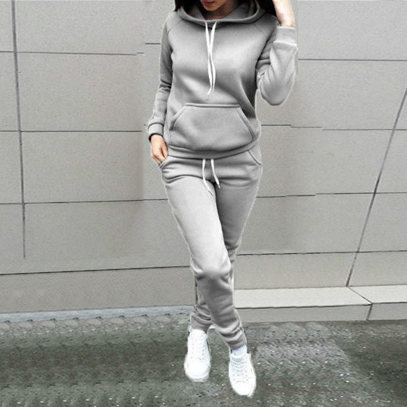 2pcs Women Sweatshirt Suits Hoodies Warm-Clothes Jogging Female Sports Casual