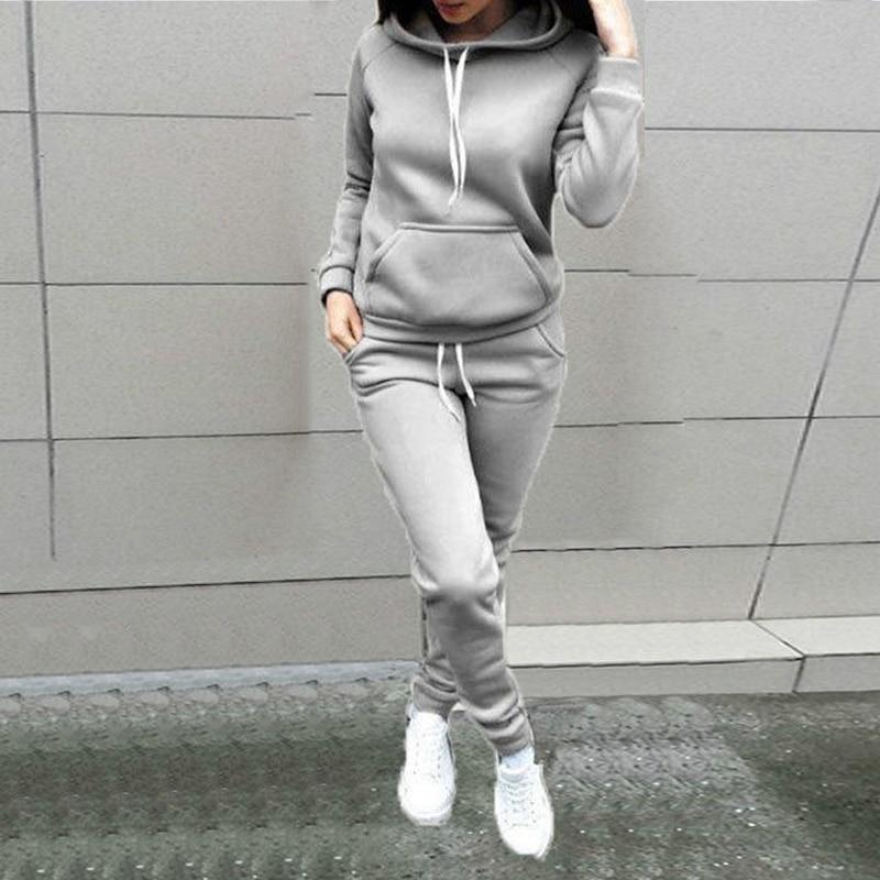 2PCS//SET Sports d/'hiver femmes Survêtement Solid à manches longues Sweats à Capuche Pantalon Nice