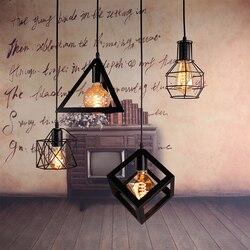 Nordic lampy wiszące w stylu retro czarny nowoczesny żelaza minimalistyczny Loft klatka lampa pokojowa Vintage Metal przemysłowe lampy wiszące na ścianę dla baru