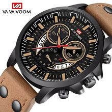 цена на VA VA VOOM Fashion Design Watch Men Sport Wristwatch Date Military Quartz watches Male Leather Strap Clock Man relogio masculino