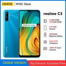 realme C3 RMX2020 6.5'' Global 2/3GB 32/64GB Helio G70 Processor 12MP AI Dual Camera HD Mini-drop Screen 5000mAh Mobile Phone