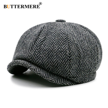 BUTTERMERE Newsboy Cap Beret Hat Men Women Wool Tweed Gatsby Octagonal Black White Herringbone Vintage Peaky Blinder