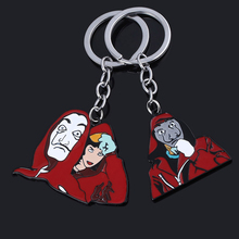 Spain TV La Casa De Papel Keychain Protagonist Salvador Dali Professor Tokio Mask Metal Keyring Men Women Movie Jewelry Gifts
